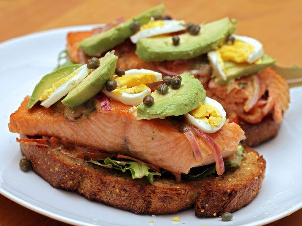 Open-Faced Salmon Sandwich with Sweet Mustard Sauce (oh yeah, and ...
