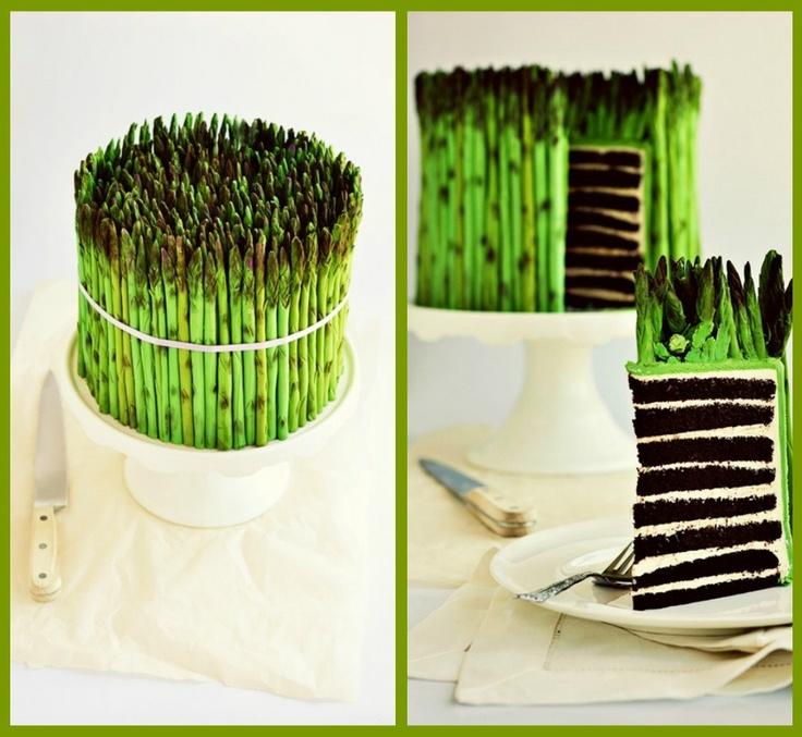 Fondant asparagus cake!