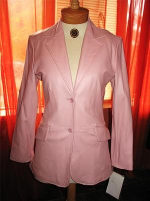 PAMELA MCCOY Jacket PINK LEATHER With Pockets Lined Size M ! NWT