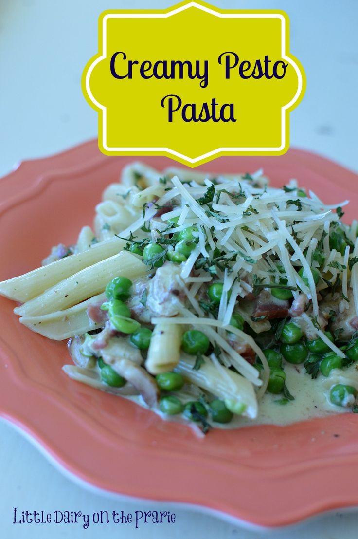 Creamy Pesto Pasta, Sauteed Mushrooms, Bacon and Peas