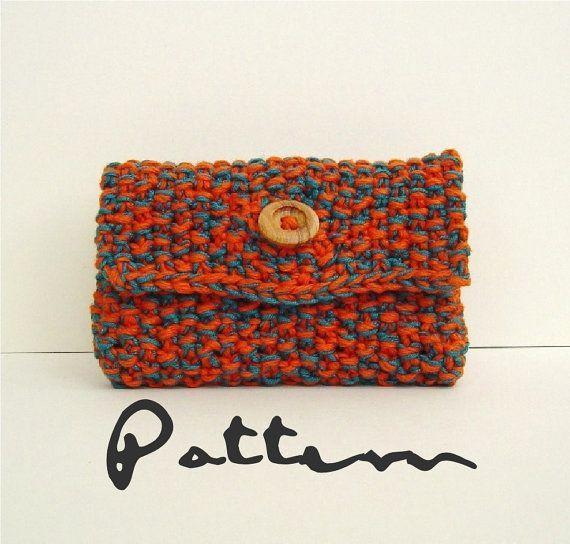 Card Case Beginners KNITTING PATTERN Moss stitch change purse PDF Di?