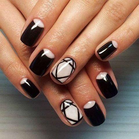 Черный лак дизайн ногтей