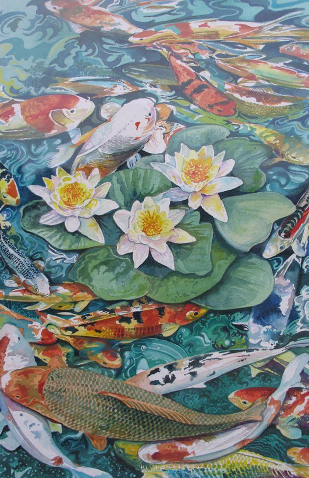 Pin by shawn alexander on art pinterest for Koi pond art