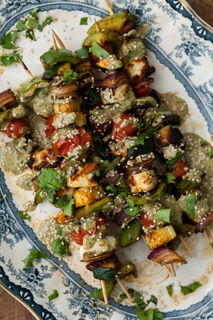 Grilled Halloumi Skewers with Cilantro-Tahini Sauce - pardon if double ...