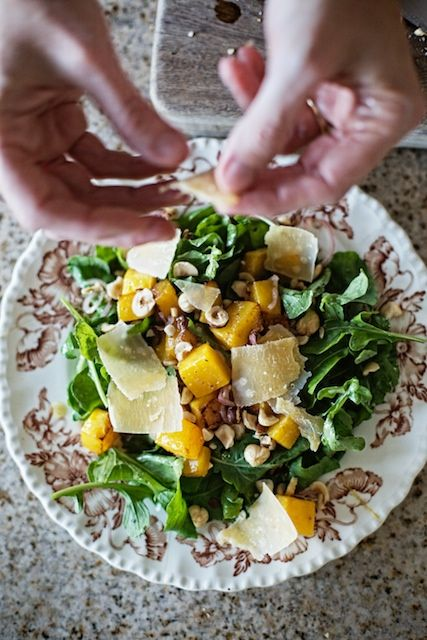 roasted butternut squash salad with hazelnuts and manchego