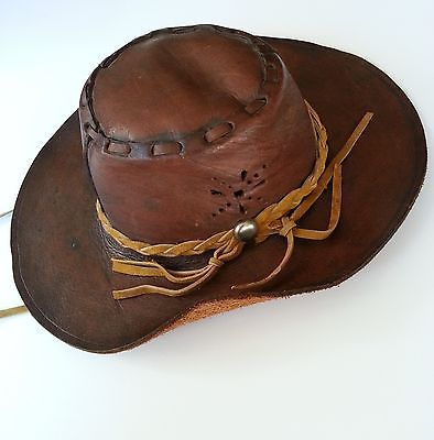 distressed leather outback hat boho cowboy womens floppy