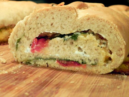 Stuffed Bread - cream cheese, spinach, and tomatoes