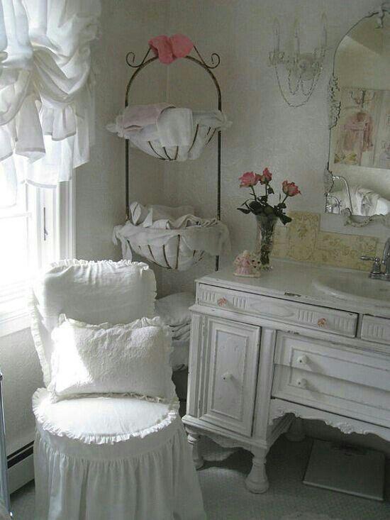 Shabby white bathroom  Home Decor that I love  Pinterest