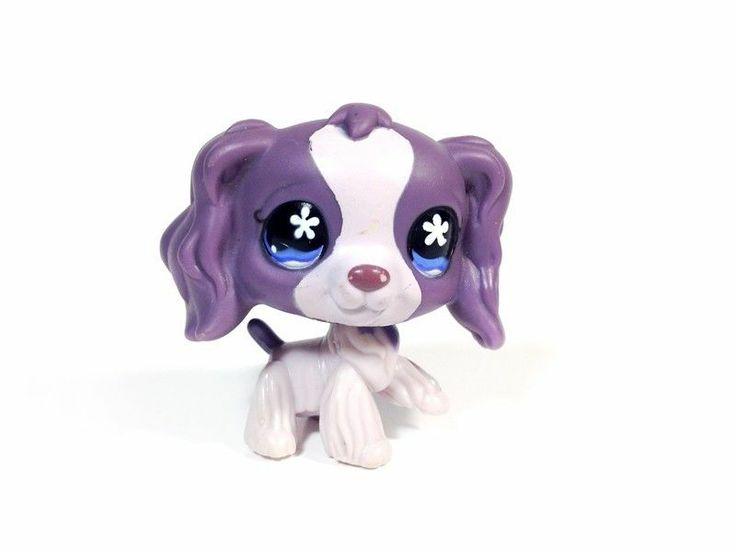 672 littlest pet shop rare purple cocker spaniel dog