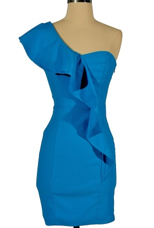 $34.00 one shoulder ruffle dress in black and blue