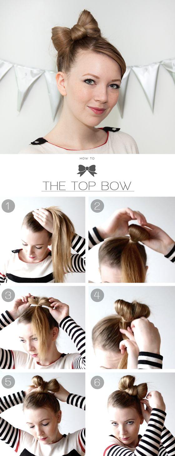 Как сделать бантик на волосах фото поэтапно