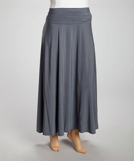 grey maxi skirt plus