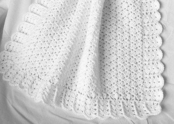 Crochet Pattern For Christening Blanket : Crochet White Baby Blanket Afghan - Christening Baptism ...