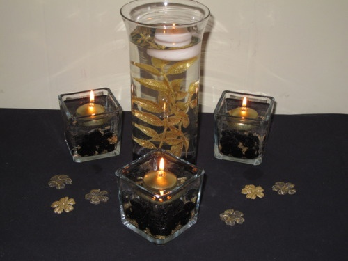 Gold and black centerpieces anniversary pinterest
