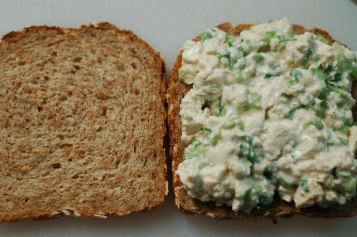 "Vegan ""egg salad"" sandwich using tofu, celery, veganaise, lemon ..."