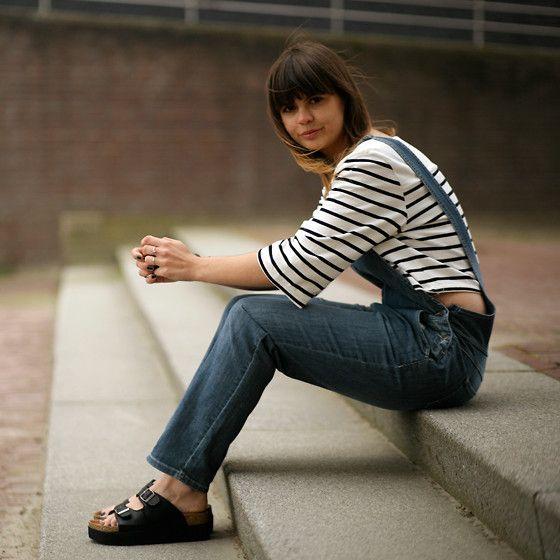 Missguided Platform Birkenstock Sandals, Dungarees, H&M Crop Top - DENIM DUNGAREES - Iris .
