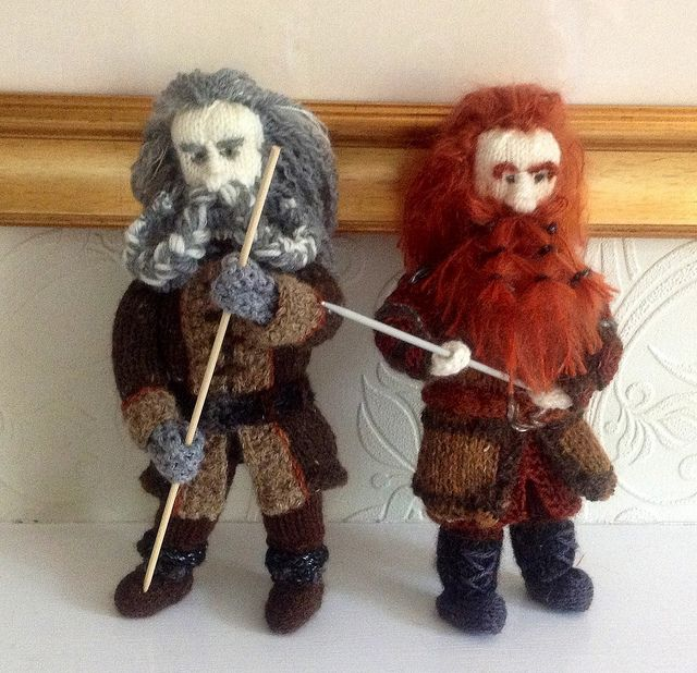 Oin & Gloin Hobbit Dwarves - made by the Knitting Witch, read/see more: http://knithacker.com/?p=9236 #TheHobbit -- Follow her on Twitter @KnittingWitchUK