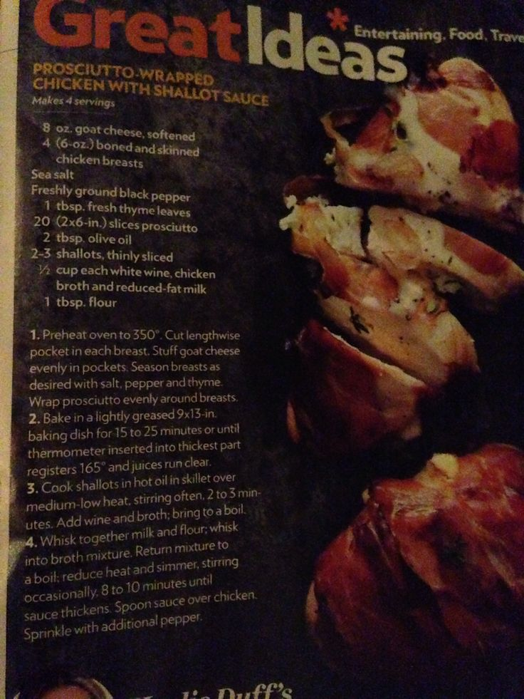 Prosciutto wrapped chicken with shallot sauce by Haylie duff