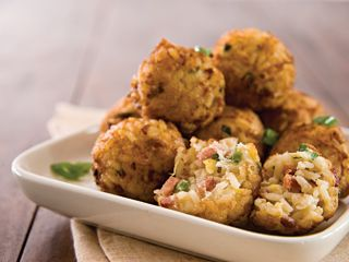 Fried ham and rice balls | Appetizers & Snacks | Pinterest