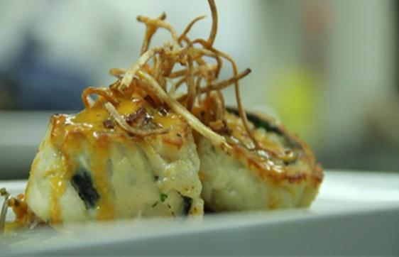 Diver Sea Scallops wrapped in Dover Sole, Saffron shallot cream sauce ...
