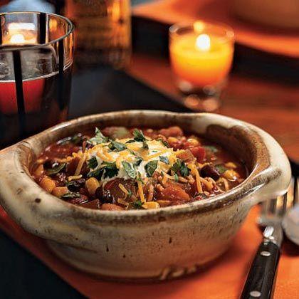 three bean chili with veggies on cooking light.com soo yummy!