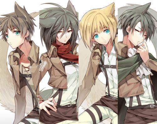 Rivaille (Levi), Eren Jaeger, Armin Arlert and Mikasa Ackerman ...