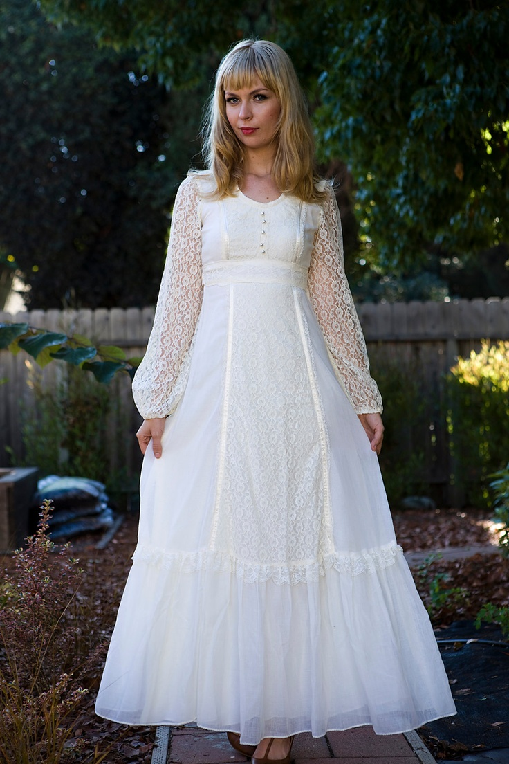 1970 39 s prairie wedding dress for 1970 s style wedding dresses