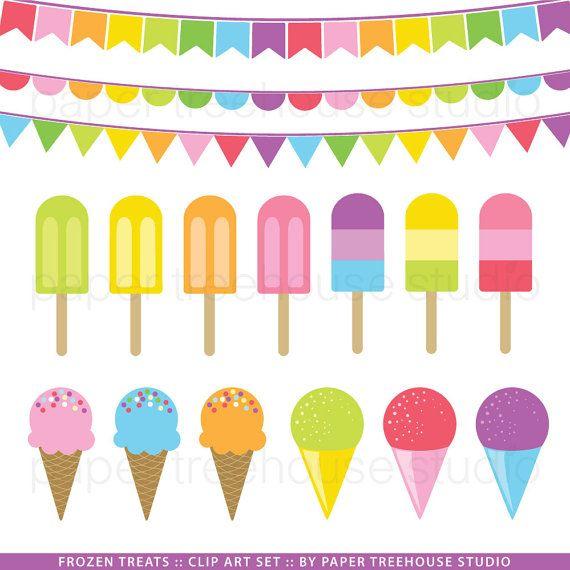 clip art set ice cream popsicle and snow cones