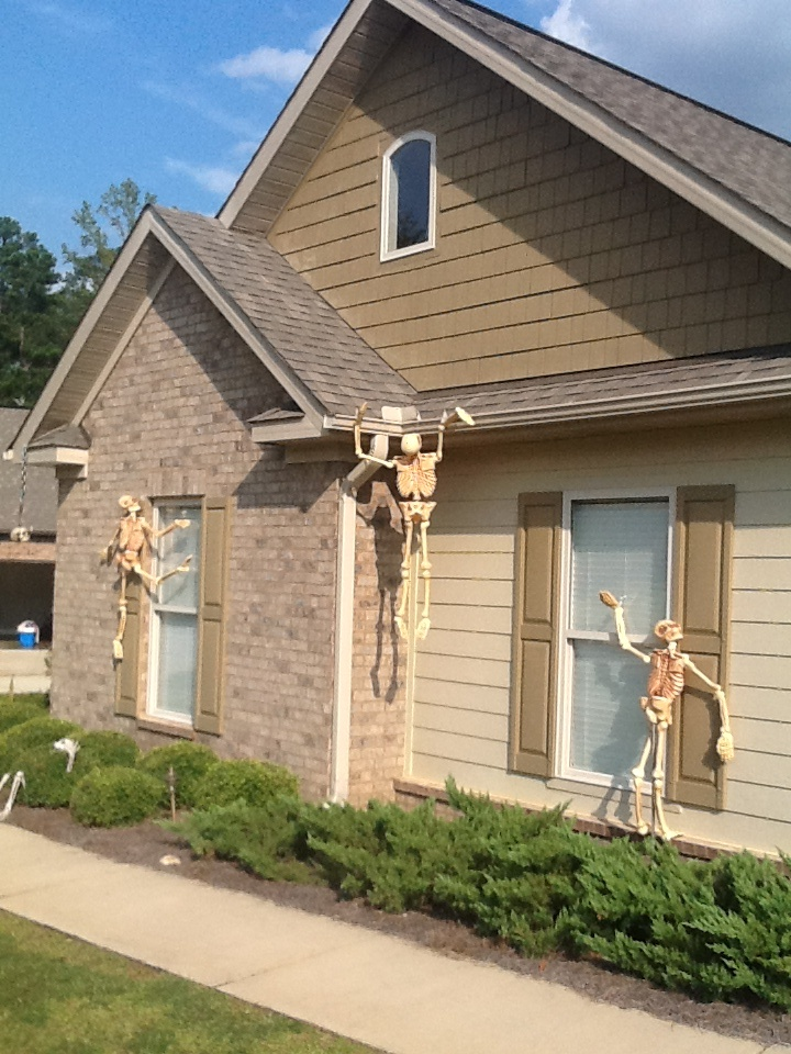 skeletons climbing the house halloween fun pinterest