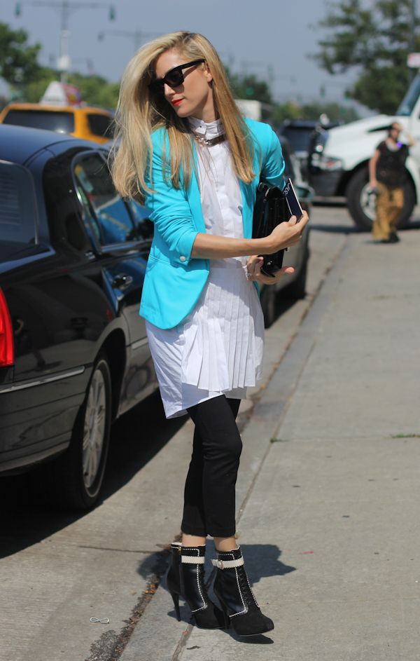 Chicago street style in a killer blazer color pop