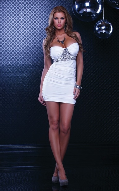 White Halter Stone Ruched Dress - BodyKandi.com #HotClubWear