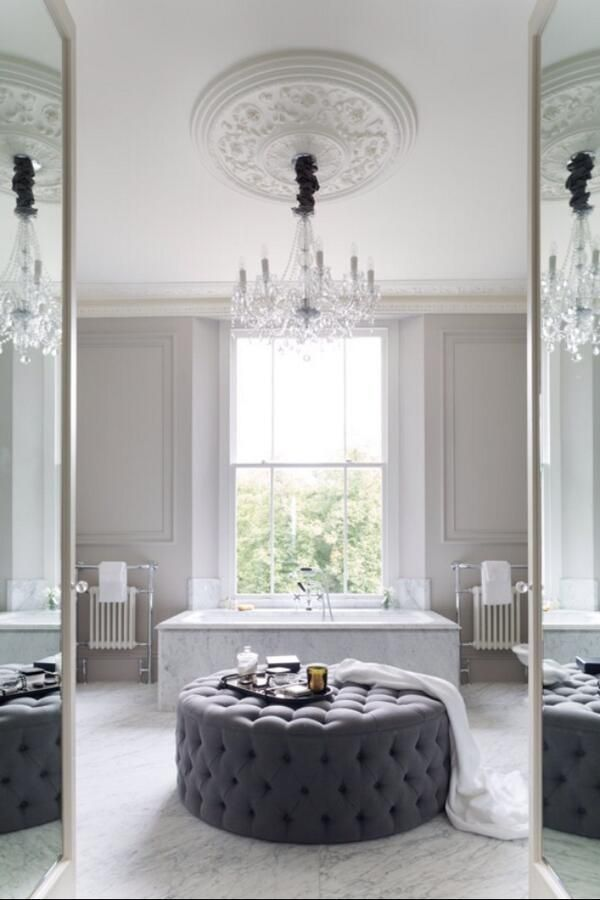 Beautiful bathroom with the most beautiful ceiling rose with hanging chandelier. #ceilingrose #bathroom #lighting