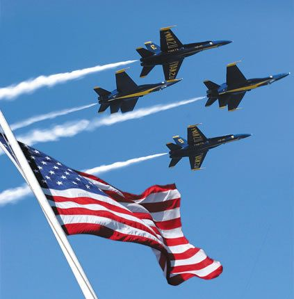 Blue angels over flag