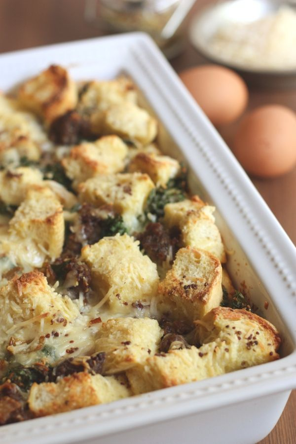 Recipe: Cheese Strata with Sausage Kale and Caramelized Onions by ...