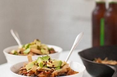Vegetarian Butternut Squash Chipotle Chili with Avocado — Punchfork