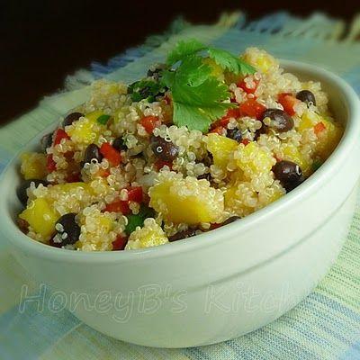 Quinoa with mango, black beans, & cilantro lime dressing