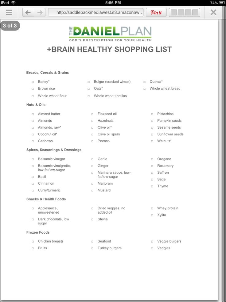3rd pg of the daniel plan shopping list