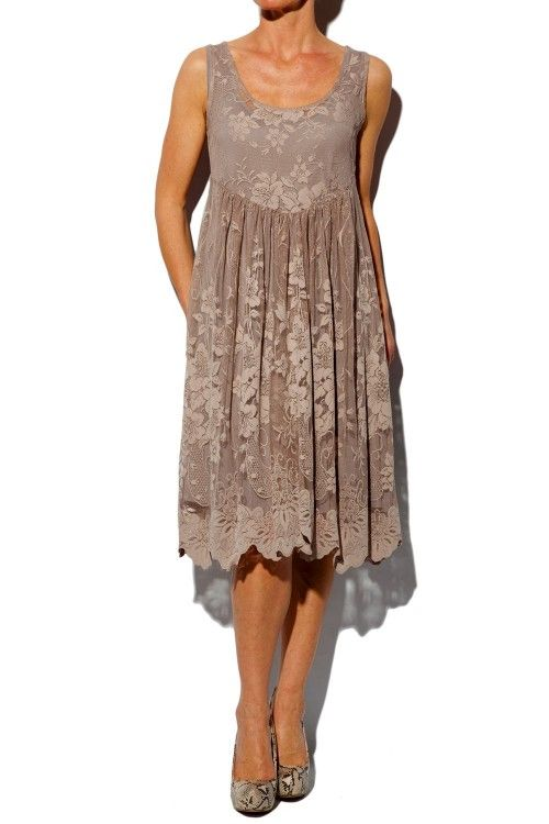 Taupe lace jena dress my style pinterest for Taupe lace wedding dress