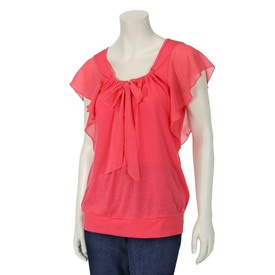French Laundry Womens Chiffon Sleeve Top