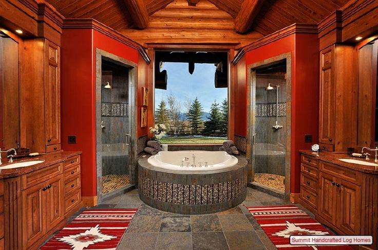 Log cabin fabulous bathroom home kitchen bathroom for Log cabin bathroom designs