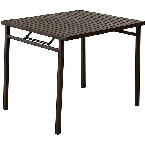 Cosco Outdoor Folding Metal Slat Dining Table Sandy Brown