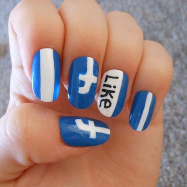 Facebook Nail Art Full Cover Nails | reallyquestion mark | Pintere