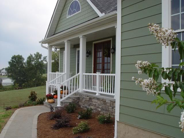 Flagstone on porch exterior pinterest for Green house paint
