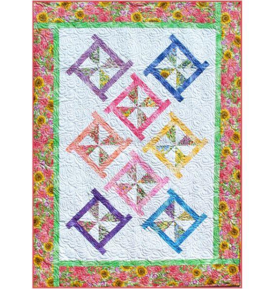 Free Printable Pinwheel Quilt Pattern : PINWHEEL POSIES Quilt Pattern - B J Q 115 --- Printable Pdf E-Pattern?