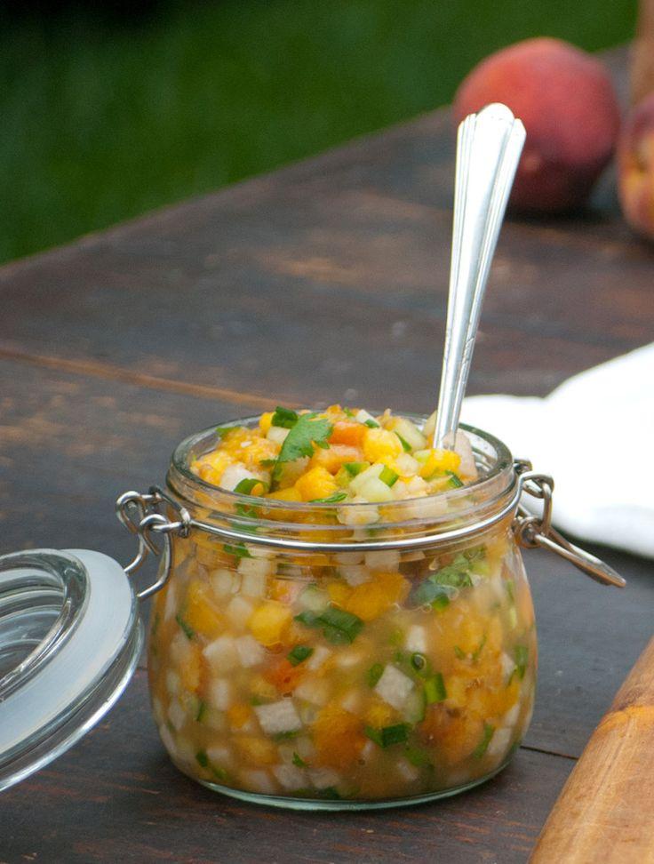 like fresh peaches and a smoking grill. This simple peach salsa ...