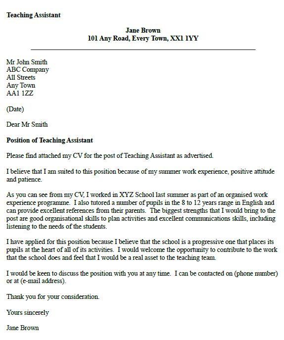 teaching assistant cover letter example resume portfolio pinte