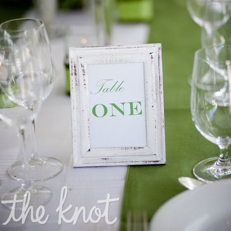 vintage frame table numbers for wedding reception, (after, make a small collage wall in your house w/ photos from the wedding!)