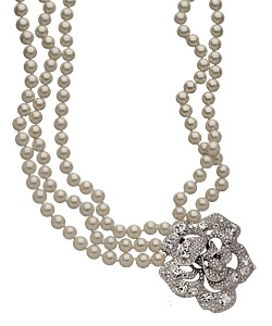 Kenneth Jay Lane Flower-Clasp Pearl Necklace