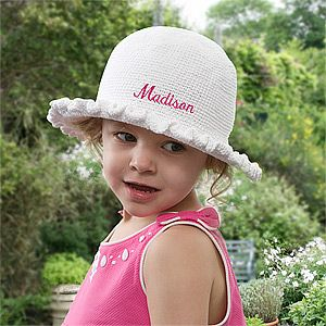 Crocheted Toddler Sun Bonnet - can be embroidered with any name in your choice of 13 thread colors! #Crochet #Summer #Kids