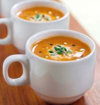 Tomato and Roasted Red Pepper Soup with Truffle Oil